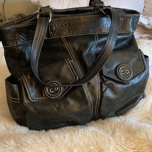 MAXX Black leather tote bag